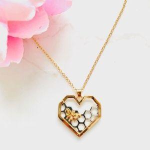 Jewelry - Heart Honeycomb & Bee Pendant Necklace